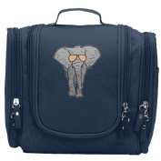 Travel Toiletry Bags Cool Elephant Cartoon Elephant With Sunglasses Washable Bathroom Storage Hanging Cosmetic/Grooming Bag For Household Business Vacation, Multi Compartments, Waterproof Lining