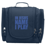 Travel Toiletry Bags In Jesus Name I Play Blue Washable Bathroom Storage Hanging Cosmetic/Grooming Bag For Household Business Vacation, Multi Compartments, Waterproof Lining