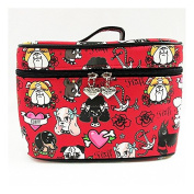 Fluff Puppy Dog Cosmetic Train Case Makeup Bag - Retro Tattoo and Vintage 1950s Inspired Artwork by Miss Fluff (Claudette Barjoud)