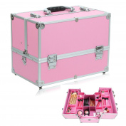 eshion Makeup Train Case Portable Key Lock Cosmetic Box With Shoulder Strap and Adjustable Dividers