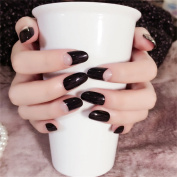 JINDIN 24 Sheet Black Fake Nails with Medium Full Cover Design for Women Nail Decals