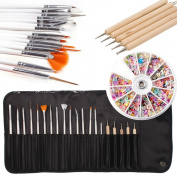 iMeshbean 20pcs Nail Art Design Set Dotting Painting Drawing Polish Brush Pen Tools + 1200 PCS Mixed Nail Art Decoration Tips USA