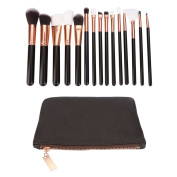 BeautyGal 15pcs Cosmetic Makeup Brushes Powder Foundation Brush with Bag
