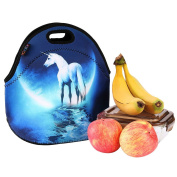 iColor Unicorn Universal Neoprene Sleeve Lunch bag Insulated warm/cold lunchbox Cooler Pouch Shopper Tote baby Portable Fashion Waterproof Cover Kids Handbag Food Carrying Case Protector Handle School Work