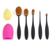 5 Pcs Oval Toothbrush Foundation Brush Set NatureBeauty Soft Toothbrush Makeup Tool Powder Make Up Cosmetic Brush with Brushegg & Puff