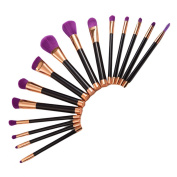 Makeup Brushes NatureBeauty 15PCS Liquid Foundation Powder Blending Brush Tool with Soft Cosmetic Bristles