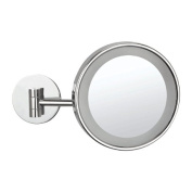 Nameeks Nameeks AR7704 Glimmer Wall Mounted Single Face 3x Magnification Makeup Mirror with LED, Chrome/Gold
