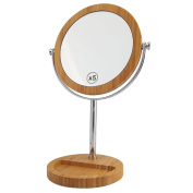 ALHAKIN Makeup mirror 5 Magnified Double Side standing table mirror bamboo 150mm