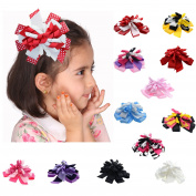 LCLHB Curling Ribbon Hair Accessories With Multi Stacked Flower Alligator Clip For Women Babies And Kids