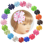 Baby Girl Bow With All-Over Polka Dot Prints And Pinwheel Design (10cm Size) LCLHB