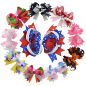 13cm Multi Stacked Giant Bow with Alligator Hair Clip for Kids Teens Juniors