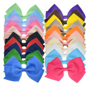 20 Bulk Ribbon Hair Bows For Girls Pure Colour 11cm Giftbox Pack LCLHB