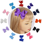 Girls Grosgrain Bows With Sturdy Alligator Hair Clips In 12 Pure Colour and Giftbox Pack of 12 LCLHB