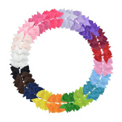 LCLHB Girls Hairbows in Pure Colour Grosgrain Ribbon Attached With Alligator Hair Clip
