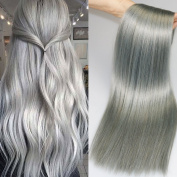 7 Pieces 120g/set Human Hair Extensions Silver Clip in Extensions Grey Remy Human Hair Straight