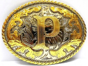 Initial Belt Buckle P Rodeo Western Texas US Style Alphabet Monogram Font Metal