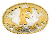 Initial Belt Buckle F Rodeo Western Texas US Style Alphabet Monogram Font Metal