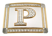 Initial Belt Buckle P US American English Alphabet Monogram Mirror Shiny Metal
