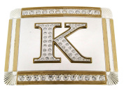 Initial Belt Buckle K US American English Alphabet Monogram Mirror Shiny Metal