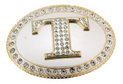 Initial Belt Buckle T US American Alphabet Mirror Finished Oval Unisex Metal New
