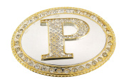 Initial Belt Buckle P US American Alphabet Mirror Finished Oval Unisex Metal New