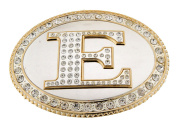 Initial Belt Buckle E US American Alphabet Mirror Finished Oval Unisex Metal New