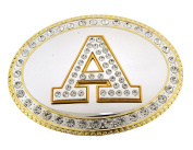 Initial Belt Buckle A US American Alphabet Mirror Finished Oval Unisex Metal New