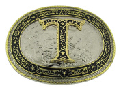 Initial Belt Buckle T US American Alphabet Vintage Finished Cowboy Western Style