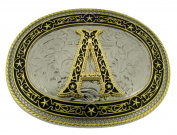 Initial Belt Buckle A US American Alphabet Vintage Finished Cowboy Western Style