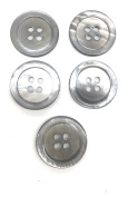 5 Premium Grey Mother of Pearl - Ocean Pearl Buttons Set- Grey Colour Shell . Sportcoats, Suits, Dres Etcses