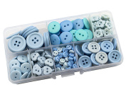 Summer-Ray 350pcs Assorted Blue Buttons In Storage Box 20mm, 15mm, 12mm, 6mm, Daisy & Heart