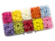 Summer-Ray 750pcs Assorted Colour 9mm 4-eyed Buttons In Storage Box