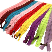 EUBUY 20 cm Nylon Lace Zip Zippers for Sewing Tailor Craft Dress Bag Cloth