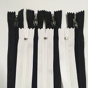 WKXFJJWZC 50pcs Black & White 3# 18inch (45CM)Nylon Coil Zippers Tailor Sewer Craft Crafter's & FGDQRS