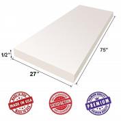 "Upholstery Foam Cushion Sheet- 1.3cm x 70cm x 75"" Medium Density Support-Premium Luxury Quality- Good for Sofa Cushion, Mattresses, Wheelchair, tables by Dream Solutions USA"