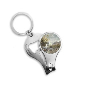 Winter Street Light Colorpainting Paninting Landscape Charming Scenery Sights Illustration Pattern Metal Key Chain Ring Multi-function Nail Clippers Bottle Opener Car Keychain Best Charm Gift