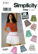 Simplicity 5101 - Jr. Misses Tiered Skirt Pattern Size BB 11/12 - 15/16