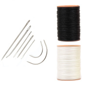 AMPSEVEN Upholstery Leather Repair Kit with White & Black Thread Spools 7pcs Curved Hand Sewing Needles