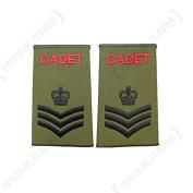 British Army Olive Green Cadet Rank Slides - SSGT