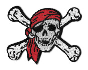 DKAORU SKULL & CROSSBONES Embroidered Iron On Patch - Punk - Pirate - Biker Happy crafting