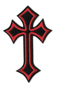 DKAORU Bikers Celtic Cross - Red & Black - Embroidered Iron On Badge Patch - 9.8cm H Happy crafting