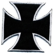 DKAORU Bikers Maltese Cross - Embroidered Iron On Badge Patch - SMALL 3.8cm Happy crafting