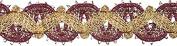 Metallic Fancy Scroll Trim 1.9cm X10yd-Burgundy/Gold
