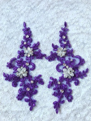 New Handmade Sew on Crystal Purple Patches Sequins Rhinestones Lace Trim Applique 22X10cm for Dress Skirt