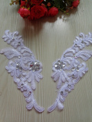 Handmade Sew on Crystal Trim Patches Pure White Lace Applique with Silver Bead Sequins Rhinestones 24x8cm for Dress Skirt
