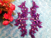 2017 New Handmade Sequins Rhinestones Patches Purple Lace Applique Sew on Delicate Embroidered 23X10cm for Dress