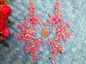 Handmade Crystal Sequins Rhinestones Patches Sew on Pink Lace Applique Delicate Embroidered 23X10cm for Top Dress