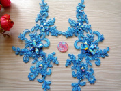 Handmade Sequins Rhinestones Patches Sew on Light Blue Colour Lace Applique Delicate Embroidered 23X10cm for Dress
