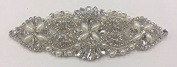 ModaTrims Hot-Fix (Iron-On) or Sew-On Beaded Crystal Rhinestone Applique with Pearls (Clear Crystals, White Pearls, Silver Beads, Silver Cups, 14cm x 5.1cm ) - RHS-APL-917-SILVER