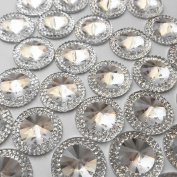 Round Clear FlatBack Resin Beads Marquise Shape 50pcs 20mm Silver Colour material 2 holes Sew on Reinestones Sewing for Wedding Dress